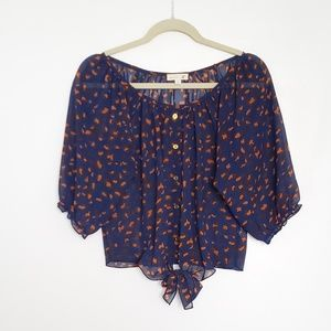Navy Blue and Orange Leopard Print Blouse